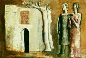 Mario Sironi, Composizione con figure, albero e casa