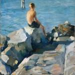 Alessandro Pomi (1890 – 1976) Giovane pescatore Anni '20 / Olio su tavola / 60x49,8 cm