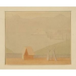 Antonio Calderara  L'isola di San Giulio 1954, acquarello, 12 X 15 cm
