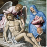 Simone Peterzano, Cristo morto sostenuto dall'angelo, la Vergine e il canonico Desiderio Tirone